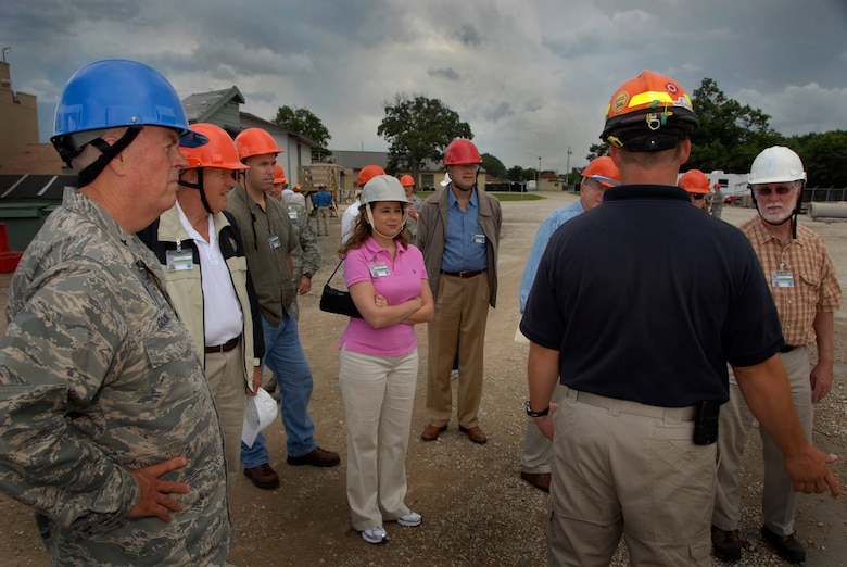 Civic leaders from seven Midwestern states attending the National Guard Bureau sponsored Business and Industry Days, tour the Regional Emergency All-Climate Training Center (REACT) at Volk Field Combat Readiness Training Center, WI, Aug. 20, 2009.   The REACT facility provides the necessary training required for safe and successful response to natural and manmade disasters to both military and civilian personnel.  (U.S. Air Force photo by Staff Sgt. Ashley Bell)