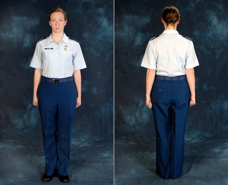 Recent changes to the cadet uniform included modifications to female cadets' slacks. The new slacls offers a shorter rise, a slightly wider leg and wider belt loops. The new slacks design also eliminates front darts, which many said were baggy and unflattering. (U.S. Air Force photo illustration)