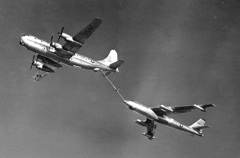 Boeing RB-47 refueled by Boeing KC-97. (U.S. Air Force photo)