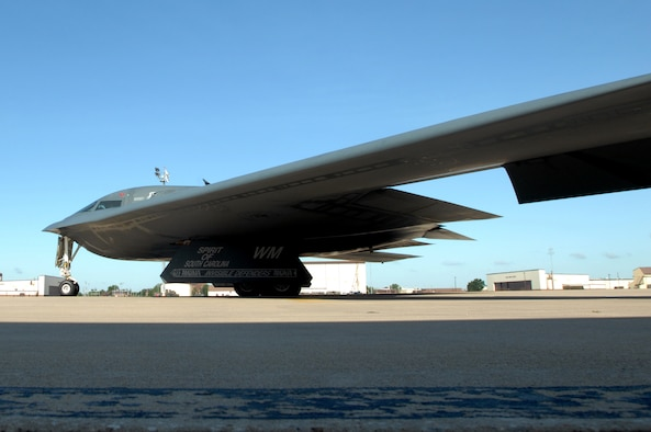 WHITEMAN AIR FORCE BASE, Mo. – A B-2 Spirit, taxis down the Whiteman flightline prior to takeoff, Aug. 22, 2009. Twenty B-2 bombers are assigned to the 509th Bomb Wing. The B-2 brings massive firepower to bear, in a short time, anywhere on the globe through previously impenetrable defenses. (U.S. Air Force photo/Senior Airman Kenny Holston)