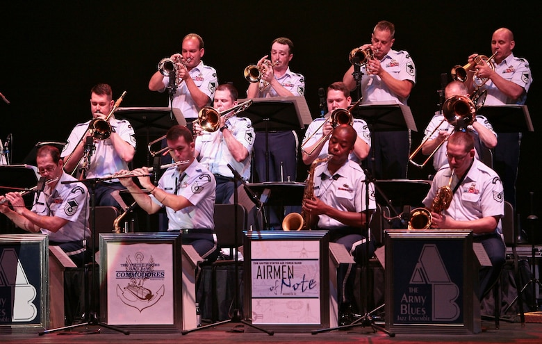 Members of The USAF Band's Airmen of Note perform at the 3rd annual Joint Service Jazz Festival in Washington, DC.  The concert, which took place at the Carter Barron Amphitheatre on August 16th, also featured the Army Blues and the Navy Commodores.  (photo by SFC Mark Wood, U.S. Army Band)