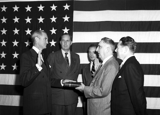 Stuart Symington was sworn in as the first Secretary of the Air Force by Chief Justice Fred Vinson on Sept. 18, 1947, establishing the United States Air Force as truly an independent arm of the U.S. military. (U.S. Air Force photo)