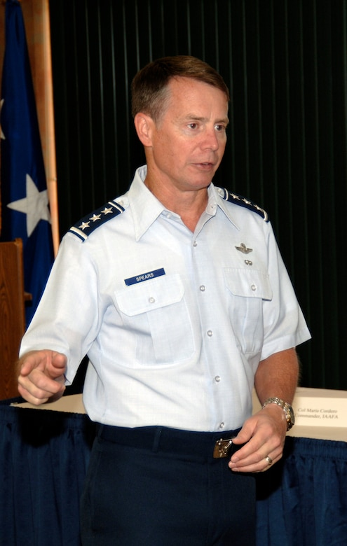 DAVIS-MONTHAN AIR FORCE BASE, Ariz. -- Lt. Gen. Glenn Spears, 12th Air Force (Air Forces Southern) commander, provides opening remarks during the Air Force Section Chiefs Conference here Aug 10. The conference provided a venue for Air Force leaders throughout the AFSOUTH area of focus to share ideas and gain a deeper understanding of the issues facing the command. (U.S. Air Force photo by Tech. Sgt. Eric Petosky)
