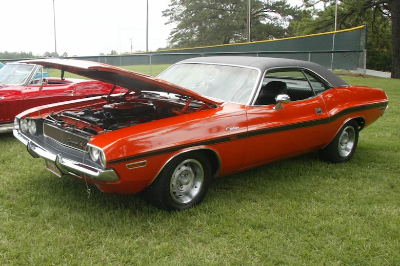 Dallas Godfrey's 1970 Dodge Challenger R/T was showcased at the Dobbins ARB Annual Corn 'n Sausage Roast and Auto Show July 15. (U.S. Air Force photo/Don Peek)