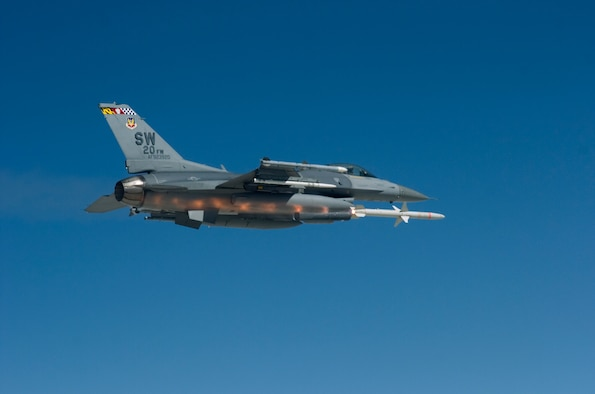 An F-16 Fighting Falcon from the 77th Fighter Squadron at Shaw Air Force Base, S.C., fires an AGM-88 HARM at a ground target during a Combined Weapons System Evaluation Program, a large-scale evaluation at Hill Air Force Base, Utah. The three-week exercise assessed operational effectiveness and suitability of weapons and weapons systems for both air to air and air to ground. (U.S. Air Force photo/Tech. Sgt. Jason Wilkerson)