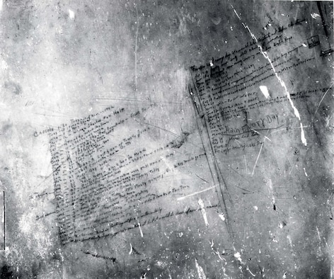 Daily entries on the door of the C-47 The Flying Dutchman. (U.S. Air Force photo)