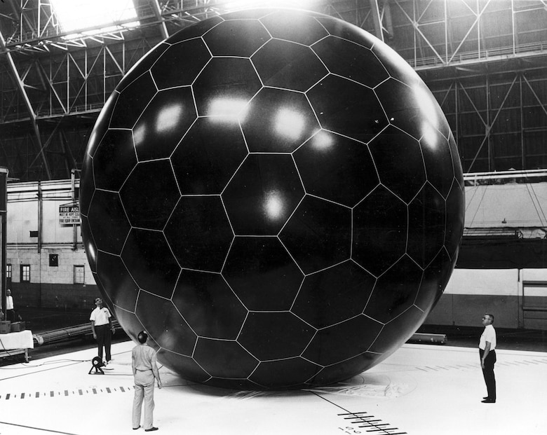 This photograph shows the size of the Grid-Sphere Satellite when inflated. (U.S. Air Force photo)