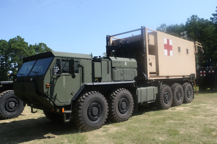 The Mobile Trauma Bay, created by Cmdr. James L. Hancock, director of medical services, Camp Lejeune Naval Hospital, stands completed and ready to ship to Afghanistan for combat testing, August 27. From the time it was proposed to the time it was completed, 914 concept drawings in four months resulted in what was unveiled today.