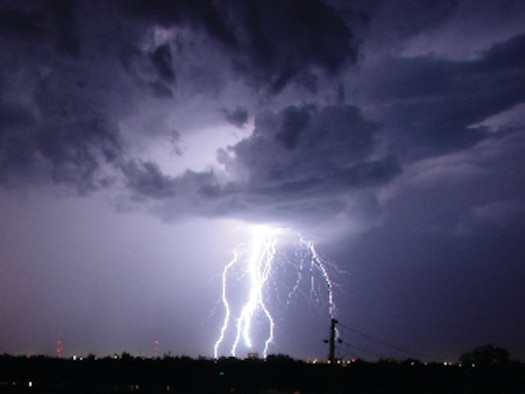 Lightning photo shot at Goodfellow AFB, Texas, Aug. 15. (U.S. Air Force photo by 2nd Lt. Lucas Hernandez).