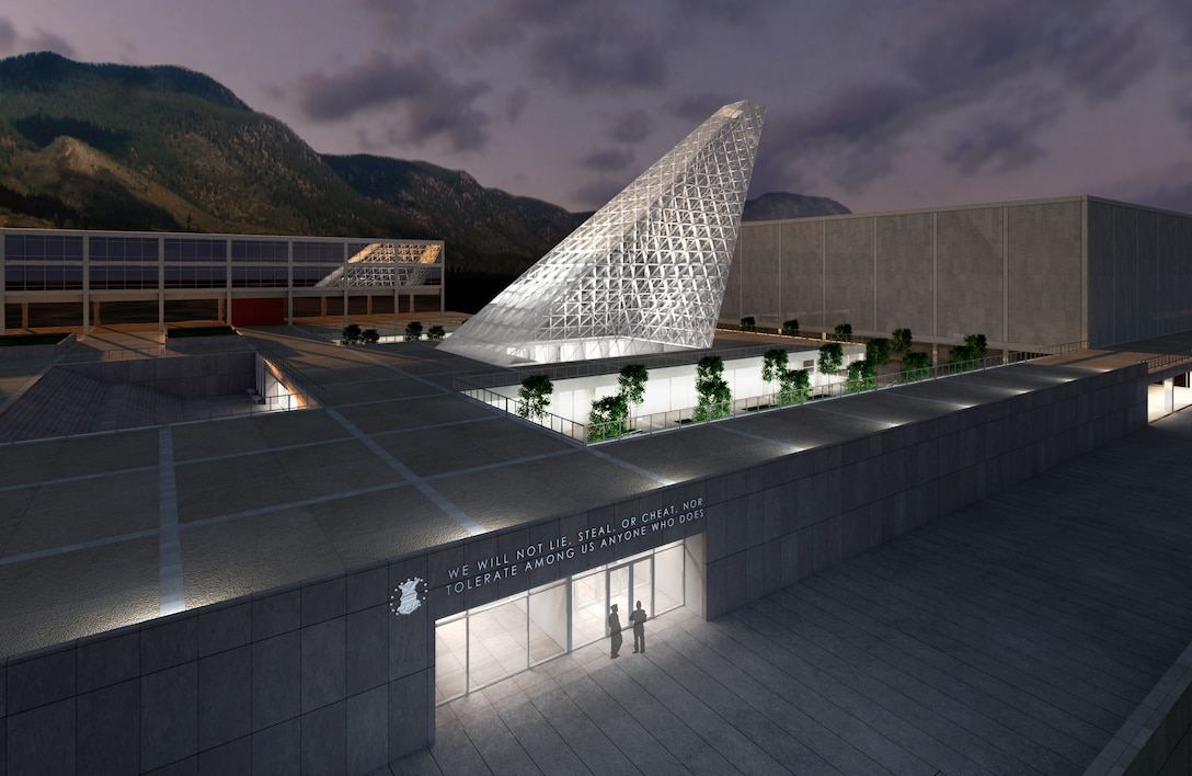 The new Center for Character Leadership and Development is shown adjacent to Arnold Hall and Harmon Hall at the U.S. Air Force Academy in this artist's rendering. Construction on the new facility, designed by Skidmore, Owings and Merrill, is scheduled to begin in March 2011 and be complete late summer 2012. (courtesy illustration)