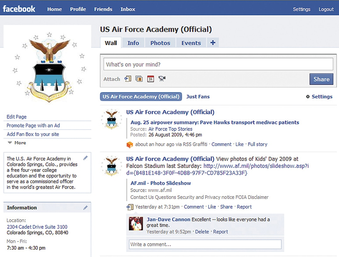 "This screenshot displays the Air Force Academy's Facebook page, ""US Air Force Academy (Official)."" Fans of the Academy will be able to post comments related to wall postings on the page. (Courtesy illustration/Facebook.com)"