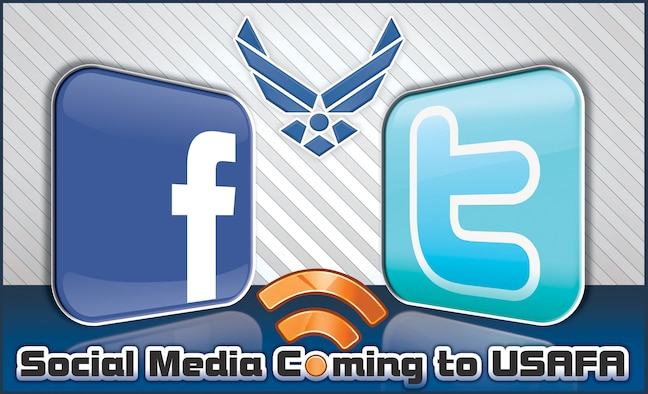 "The Air Force Academy embraced social media technology with the launch of ""US Air Force Academy (Official)"" on Facebook and ""AF_Academy"" on Twitter Aug. 28. Social networking allows Academy officials to interact with the public in a direct and informal setting. (U.S. Air Force illustration / Jessica Jones)"