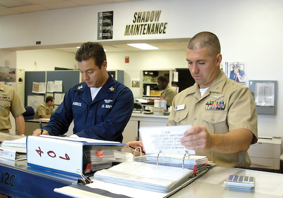 Chief Petty Officer Phil Stevens, right, and Petty Officer 1st Class Robert Ambol handle maintenance control for VQ-4.  Everything that happens with an aircraft during maintenance in the squadron funnels through their area to keep things working smoothly. (Air Force photo by Margo Wright)