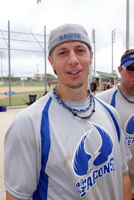 Kasper, a member of Air Force Office of Special Investigations, was selected to the All Tournament Team at the 2009 Military World Softball Tournament in Panama City Beach, Fla., Aug. 16. (U.S. Air Force photo/Lance Keylon)