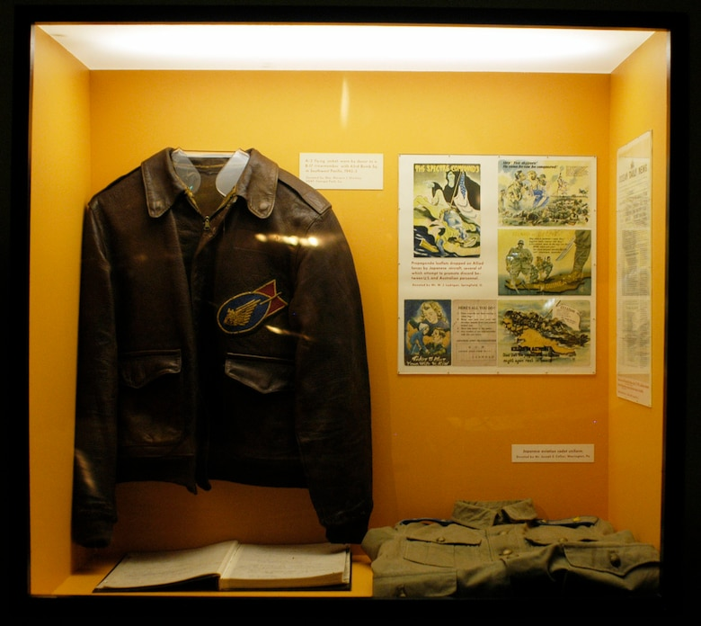 DAYTON, Ohio -- This A-2 flying jacket was worn by the donor, Maj. Merwin J. Sherline or Conoga Park, Colo., as a B-17 crewmember with the 63rd Bomb Squadron in the Southwest Pacific, 1942-1943. (U.S. Air Force photo)