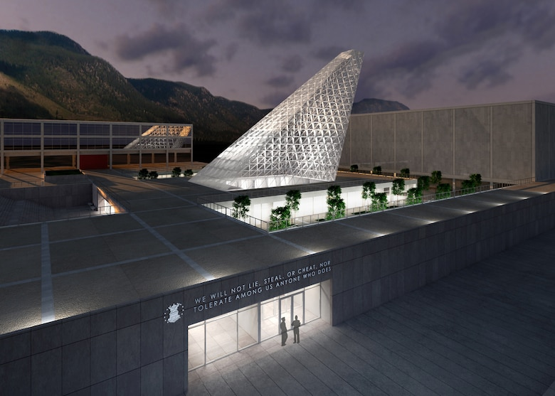 The new Center for Character Leadership and Development is shown adjacent to Arnold Hall and Harmon Hall at the U.S. Air Force Academy in this artist's rendering. Construction on the new facility, designed by Skidmore, Owings and Merrill, is scheduled to begin in March 2011 and be complete in March 2012. (courtesy illustration)