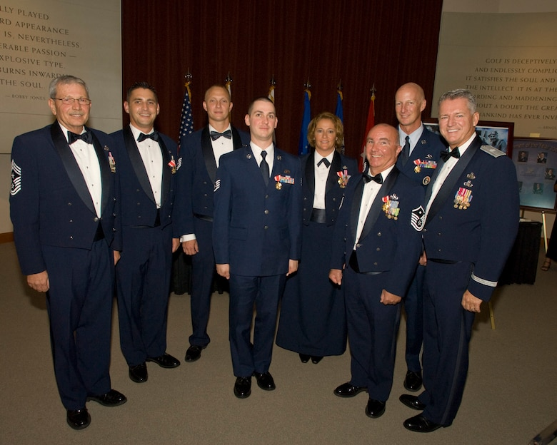 The 2009 Airmen of the Year for the Florida Air National Guard (from left) MSgt Christopher Hogarth, TSgt Mark Farmer, SSgt. Michael Fillinger, MSgt. Melissa Merideth, MSgt. Michael Ramsey, and TSgt Paul Still pose for a photo with Command Chief MSgt Charles Wisniewski and the Commander of the Florida Air National Guard, Brig. Gen. Joseph Balskus at the Airman of the Year banquet.  The Banquet was held on August 22, 2009 at the World Golf Hall of Fame.  (Florida Air National Guard photo by SSgt. Jaclyn Carver)