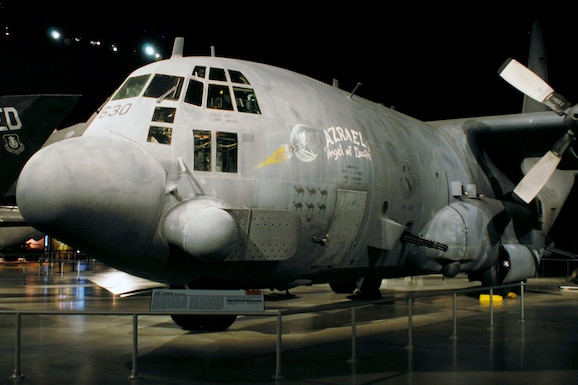 "Lockheed AC-130A ""Azrael"" in the Cold War Gallery at the National Museum of the United States Air Force. (U.S. Air Force photo)"