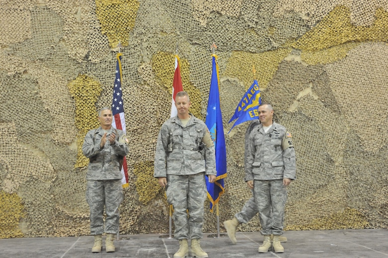 SATHER AIR BASE, Iraq, - Lt. Col. David Knight became the new commander of the 447th Expeditionary Security Forces Squadron here Aug. 26.  Colonel Knight is deployed from the 141st Air Refueling Wing of the Washington Air National Guard located at Fairchild Air Force Base.  (U.S. Air Force photo / Staff Sgt. Misty D. Slater)