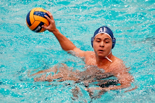 Senior Alex Churnside led the Falcons with 77 points in the water polo team's 2008 season and ranks among the top 25 career scorers in Air Force history. The Academy was chosen to finish fifth in the Western Water Polo Association for the third straight year in a preseason poll of the conference's head coaches. (U.S. Air Force photo)