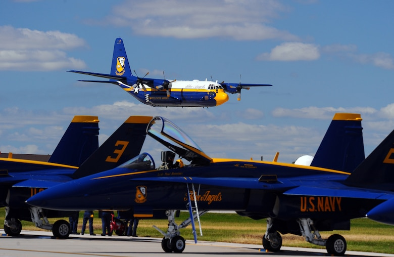 """OFFUTT AIR FORCE BASE Neb. -- The U.S. Navy's Blue Angels C-130, affectionately known as """"Fat Albert,"""" performs during the 2009 Defenders of Freedom Open House and Air Show here Aug. 29 - 30. U.S. Air Force Photo by Josh Plueger"""