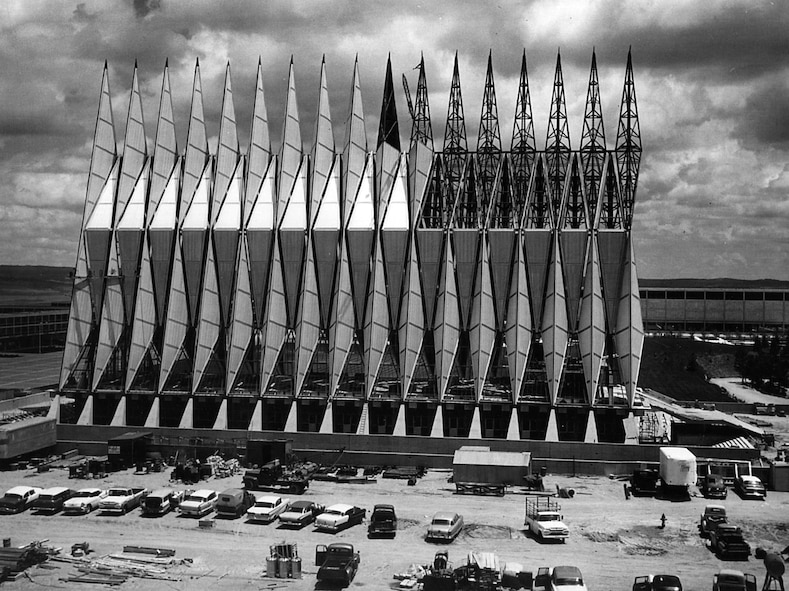 Construction on the U.S. Air Force Academy's iconic cadet chapel began Aug. 28, 1959. Construction was completed in 1963 by Robert E. McKee, General Contractor Inc., of Santa Fe, N.M.