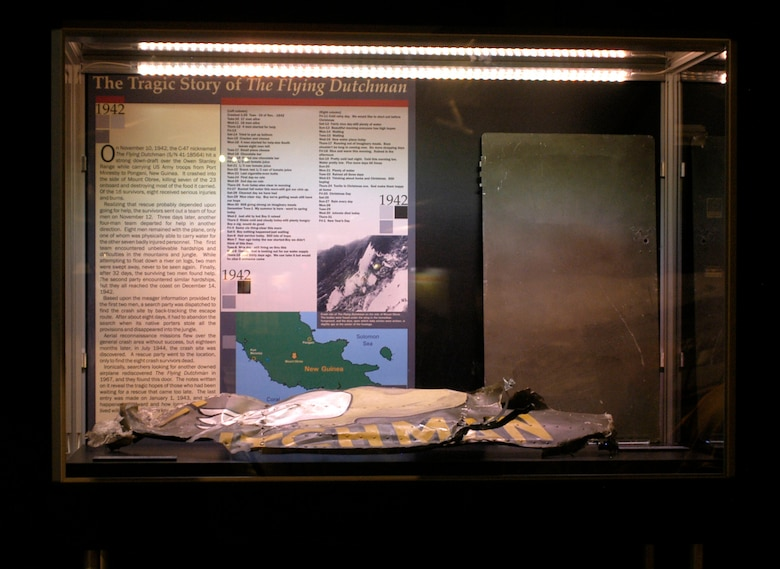 "DAYTON, Ohio - An exhibit case of ""The Tragic Story of The Flying Dutchman"" on display in the World War II Gallery at the National Museum of the U.S. Air Force. (U.S. Air Force photo)"