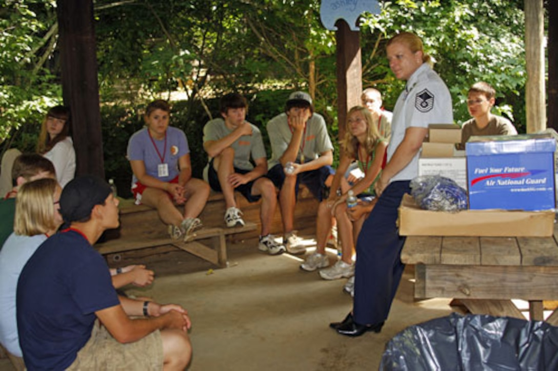 Andrew Metz (seated on the right in the photo), a 16-year-old student of Fayetteville-Manlius High School, recently attended the Air National Guard /Air Force Reserve Teen Leadership Summit at Wahsega 4-H Center, in Dahlonega, Georgia. (Courtesy Photo, Ms. Terri Scanlin/RELEASED)