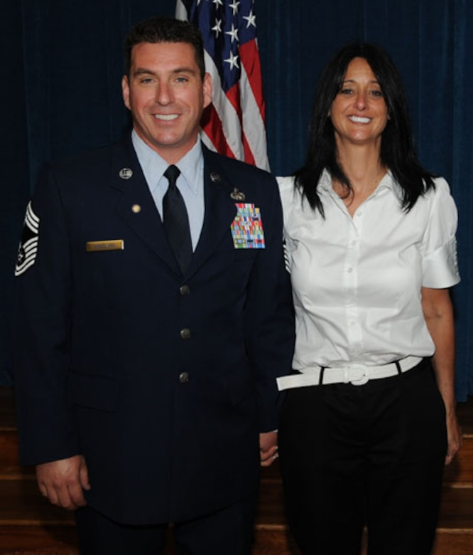 Retired Chief Master Sgt. Erik Wineland and his wife Paula pose for a photo during Chief Wineland's retirement ceremony in 2006. (Courtesy photo)