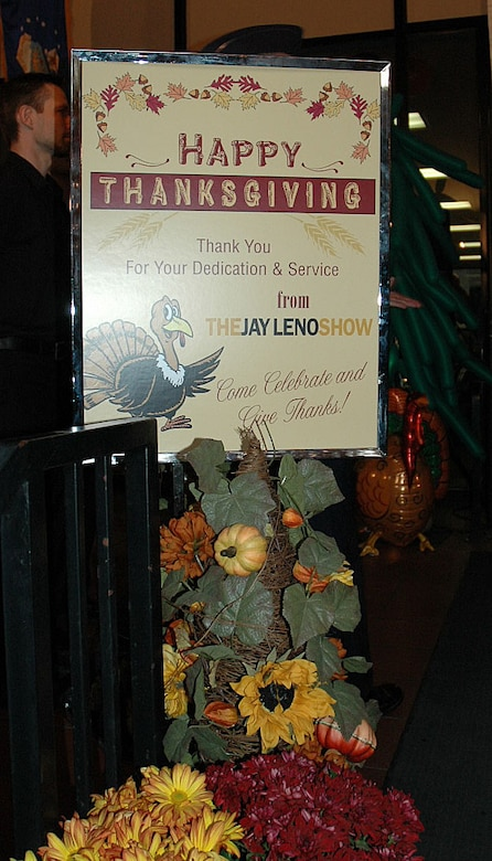 A special sign welcomes members from various military bases in Southern California, including Los Angeles Air Force Base, who took part in the Jay Leno Show's all-military tribute on Thanksgiving Day, Nov. 26. After watching the show in NBC Studios, Burbank, Calif., everyone was served a home-cooked meal, complete with ornate decorations set up by Jay's staff. (Photo by 2nd Lt. Mara Title)