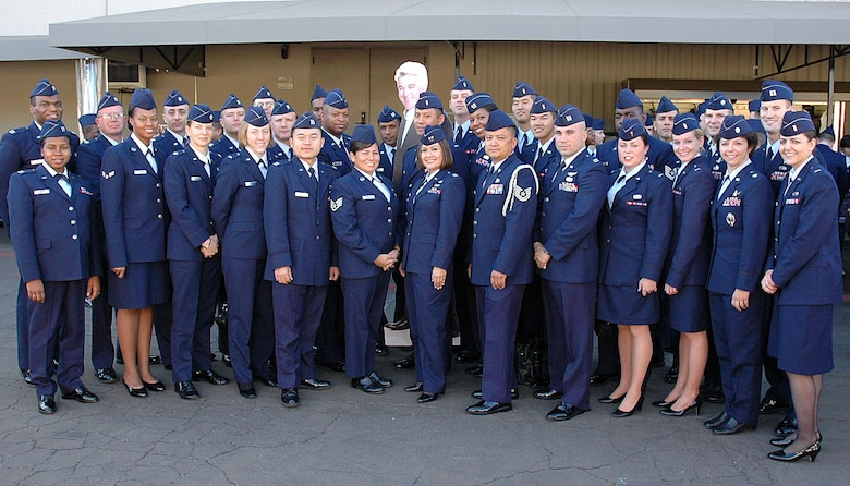Los Angeles Air Force Base personnel take a group photo outside NBC Studios, Burbank, Calif., with Jay Leno's cardboard silhouette, Nov. 26. The participants came from various military bases around Southern California to be a part of the all-military audience for the Jay Leno Show's military tribute on Thanksgiving Day. (Photo by 2nd Lt. Mara Title)