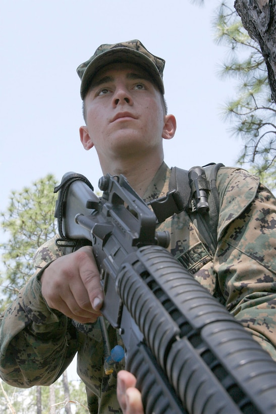 MARINE CORPS BASE CAMP LEJEUNE, N.C. - Lance Cpl. Adam H. Blades, 20, is a platoon sergeant with Alpha Company, 1st Battalion, 2nd Marine Regiment.  There are very few places where someone so young can be responsible for the lives of more than 30 Marines.  Blades' skill and experience make him an ideal candidate for the position.  His unit recently conducted a helicopter-raid exercise in preparation for a deployment with the 22nd Marine Expeditionary Unit later this year.