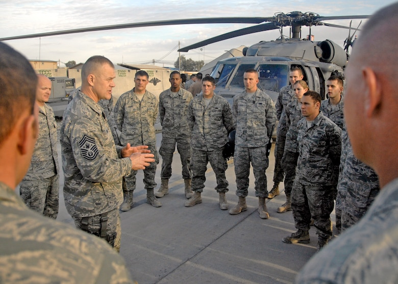 Chief Master Sgt. of the Air Force James A. Roy speaks to Airmen from the 55th Expeditionary Rescue Squadron about the impact and role they play in the Air Force here, Nov. 29, 2009 at Kandahar Airfield, Afghanistan. Chief Roy spent two days touring Kandahar Airfield's many squadrons and offices listening and talking to Airmen. (U.S. Air Force photo/Senior Airman Timothy Taylor)