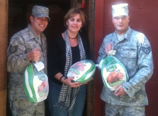 """The 104th Fighter Wing donated 104 turkeys (1564lbs) to the Westfield Salvation Army, and has kept up the tradition of donating 104 turkeys for the past five years.  Funds to support these Thanksgiving Day gifts are collected from all members of the 104th Fighter Wing during the annual """"AMMO Can"""" drive.  The 21st annual """"AMMO Can"""" drive will take place again on Saturday and Sunday morning of the December UTA.  Non-perishable food items and cash are welcome."""