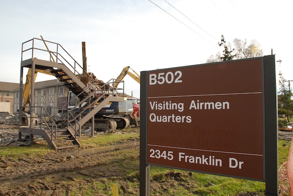After many years of service at the Niagara Falls Air Reserve Station, NY the Airman's quarters, building 502 and 504 are being demolished by construction crews on December 2nd 2009 to make way for the new Community Activities Center.  The new facility is scheduled to break ground later in 2010. (U.S. Air Force photo/Master Sgt. Peter Borys)
