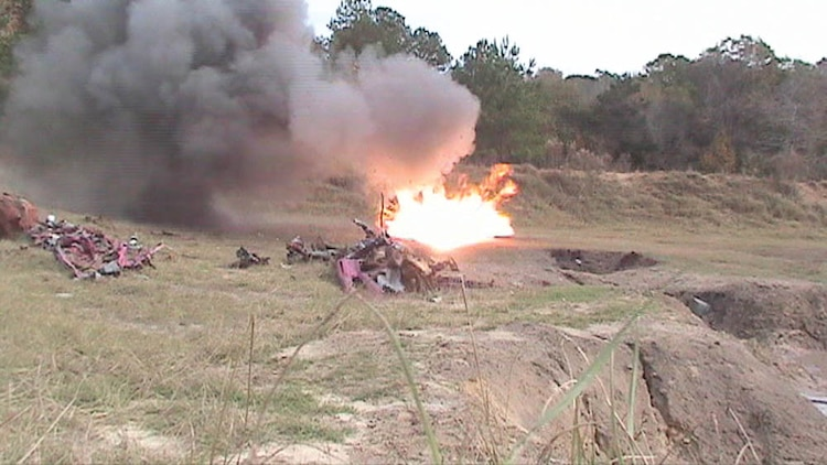 Explosive Ordnance Disposal Marines with Marine Wing Support Squadron 273 conducted bombing demonstrations during the squadron's field training exercise at Fort Stewart Army Base in Hinesville, Ga., from Dec. 2 to Dec. 12.::r::::n::
