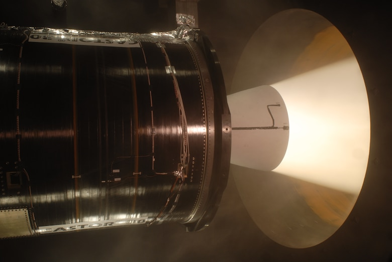 ATK's CASTOR® 30 was ground tested at the U.S. Air Force's Arnold Engineering Development Center (AEDC) on December 9, 2009 in a specialized vacuum chamber that simulates the altitude at which the upperstage motor will operate. This was the longest rcoket motor test ever in the J-6 Large Rocket Motor Test Facility, which became operational in 1994. (Air Force photo by Rick Goodfriend)