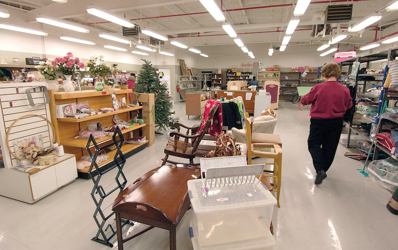 The furniture section of the thrift shop carries anything not clothes related, from kids' toys and yard tools to furniture, dishes and knick-knacks. The separate clothing area and a sales/consignment area complete the shop, open Tuesdays and Thursdays from 10 a.m. to 2 p.m. and located on Arnold Street between the base theater and the Gerrity Fitness and Sports Center. (Air Force photo by Margo Wright)