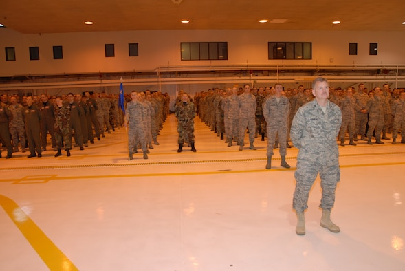 Airmen of the 119th Wing stand in formation during the Change of Command Ceremony that took place at the North Dakota Air National Guard on Dec. 5th.  Col. Robert Becklund relinquished command of the 119th Wing to Col. Rick Gibney during the ceremony.