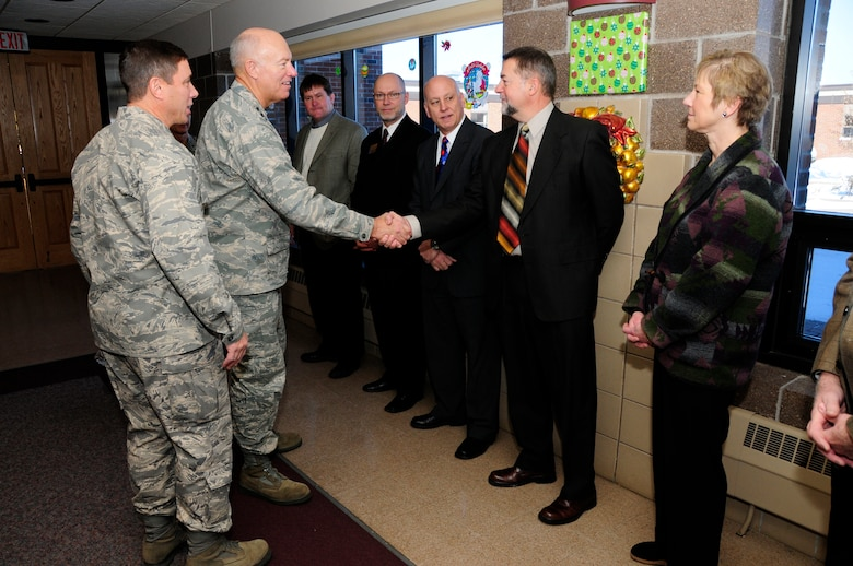 U.S. Air Force Lt. Gen. Harry Wyatt, Director of the Air National Guard, meets local civic leaders during a luncheon at the 148th Fighter Wing Air National Guard base in Duluth, Minn. Dec. 11th, 2009.  Lt. Gen Wyatt was briefed about the unit and the strong community involvement from the local area for the guard base. (U.S. Air Force photo by Master Sgt. Jason W. Rolfe)