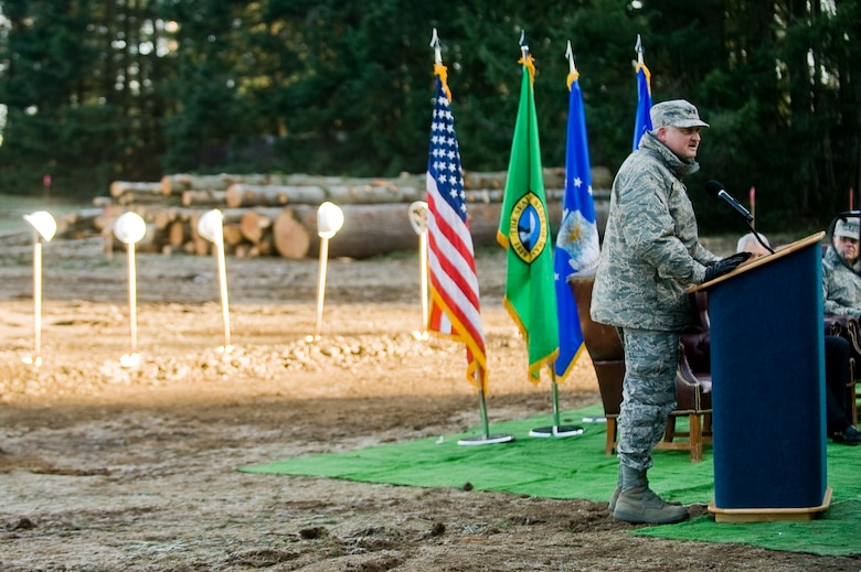 Maj. Gen. Timothy Lowenberg, adjutant general and commander of the Washington National Guard, speaks during a ground breaking ceremony for a new 23,500-square foot facility for the 262nd Network Warfare Squadron Dec. 11. The $5.6 million construction project is scheduled for completion in October 2010. The mission of the 262nd NWS is to train citizen Airmen to provide network warfare capabilities to secure defense information networks and provide full-spectrum cyberspace options to the State of Washington, Air Force Space Command and 24th Air Force. The 262nd NWS is part of the 688th Information Operations Wing at Lackland Air Force Base, Texas.(U.S. Air Force photo/Abner Guzman)
