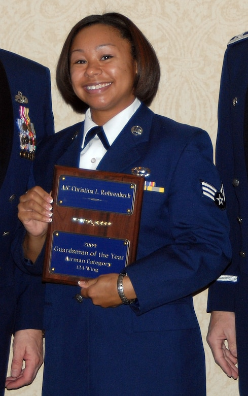 2009 Guardsmen of the Year, Airman category, Senior Airman Christina Rohrenbach, 124th Operations Support Flight. (Air Force photo by Master Sgt Thomas Gloeckle)(Released)