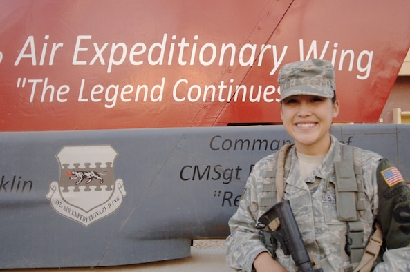 Staff Sgt. Audrina L. Corpuz is the 332nd Air Expeditionary Wing's Tuskegee Airman of the Week for Nov. 22-28, 2009. Among her accomplishments, Sergeant Corpuz directed 10 alarm responses at Joint Base Balad, Iraq, which helped guarantee the safety of more than 25,000 personnel. Sergeant Corpuz is deployed to the 332nd Expeditionary Security Forces Squadron from the 10th SFS at the U.S. Air Force Academy in Colorado Springs, Colo. (U.S. Air Force photo/Airman 1st Class Allison M. Boehm)