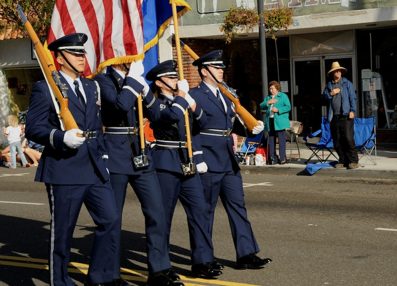 A honor guard from Los Angeles Air Force Base leads El Segundo's annual Holiday Parade, Dec. 13. (Photo by Lou Hernandez)