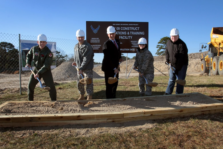 A picture of Col. Robert C. Bolton,177th Fighter Wing commander, Maj. Gen. Glenn K. Rieth, The Adjutant General of New Jersey, Congressman Frank LoBiondo, 2nd District of New Jersey, Maj. Gen. Maria Falca-Dodson, 177FW commander, and Yan Girlya, Sambe Construction Company, Inc. vice president, break ground on the 177th's Operations and Training Facility.