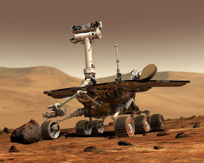 An artist's concept portrays a NASA Mars Exploration Rover on the surface of Mars. (Photo courtesty of NASA)