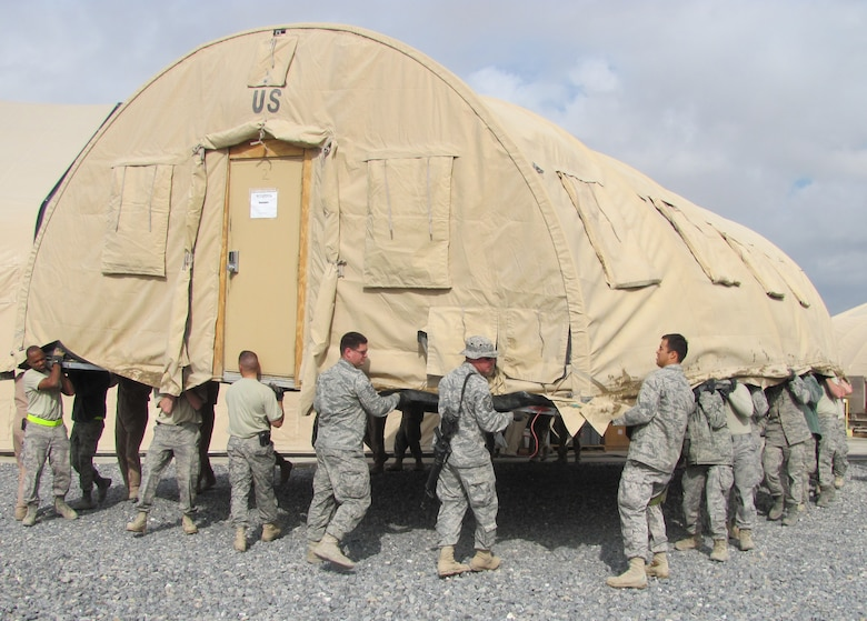 Airmen from all three groups within the 451st Air Expeditionary Wing worked together to move an & Team moves Alaskan shelter u003e U.S. Air Forces Central Command u003e News