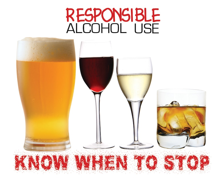 Always drink responsibly. April is Alcohol Awareness Month; the Air Force has also designated December as Responsible Alcohol Use Month. (U.S. Air Force graphic by Senior Airman Kristen Sauls)