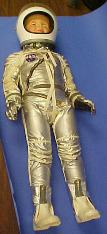 This item belonged to Wayne Galloway, a former product manager for the B.F. Goodrich Mercury space suit program from 1956-1962. According to the donor, the suit was made using the same materials as the Mercury suits. Only nine were made: one for each of the seven Mercury astronauts, the chief suit engineer and the donor. (U.S. Air Force photo)