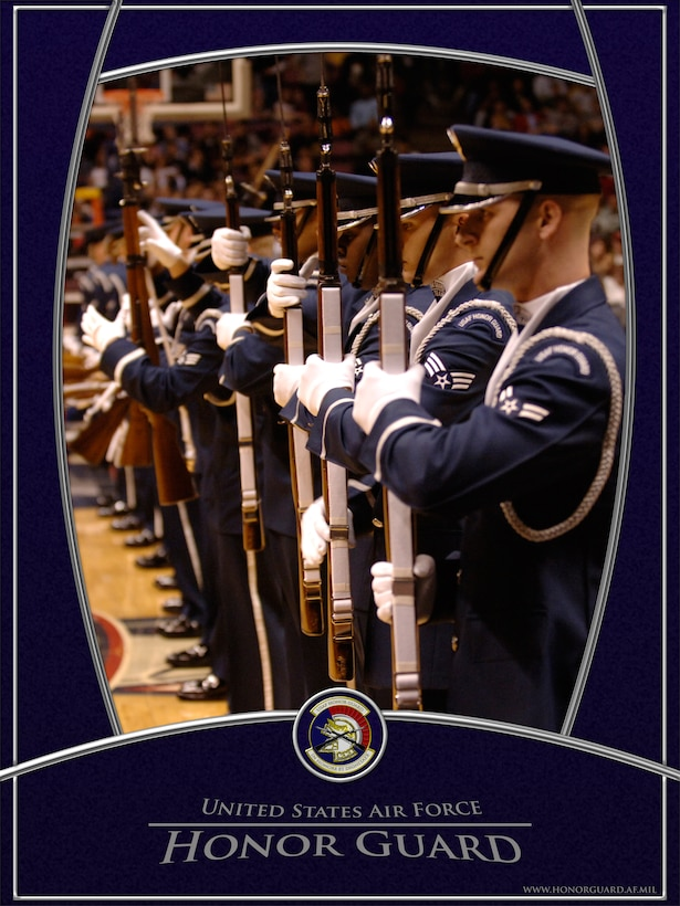 USAF Honor Guard Drill Team, The Line.  Graphic by SSgt David Merrick.